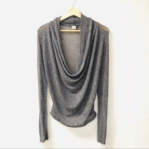 Wet seal Metallic Gray Ruched Knit top
